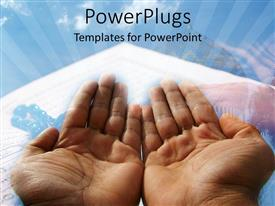 Elegant PPT theme enhanced with a beautiful depiction of two hands praying with clouds in the background