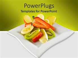 Colorful presentation design having a beautiful depiction of various fruits in a plate