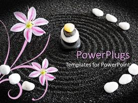 Presentation theme with a beautiful depiction of zen garden along with circles in the black sand