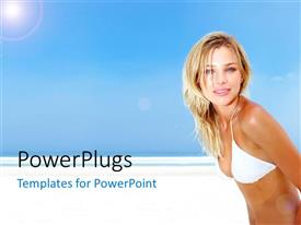 Colorful presentation design having a beautiful girl on the beach with bluish background