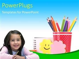Presentation theme with a beautiful girl with color pencils in the background and place for text