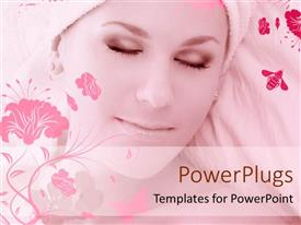 Elegant PPT theme enhanced with a beautiful girl with floral background