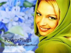 Beautiful presentation design with a beautiful girl smiling with flowers in the background
