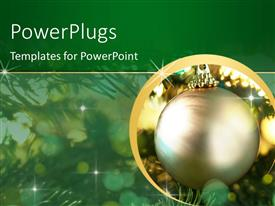 Elegant PPT layouts enhanced with beautiful gold ornament hanging on decorated Christmas tree