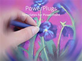 Beautiful presentation design with a beautiful hand painting of violet flowers with pinkish background