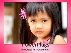 Colorful presentation theme having a beautiful kid with blurred background