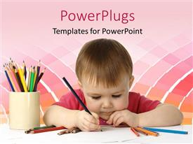 Beautiful PPT theme with beautiful kid drawing with colored crayons on white piece of paper