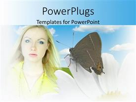 Slide deck enhanced with beautiful lady with a butterfly perching on a white flower
