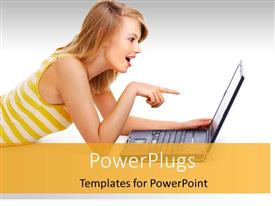 PPT theme featuring beautiful lady smiles with surprised expression as she points to laptop screen