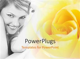 Slides consisting of beautiful lady with terrific smile with yellow colored flower