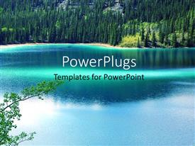 Audience pleasing PPT layouts featuring a beautiful lake with a number of trees
