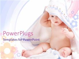 Beautiful PPT theme with beautiful little kid playing with white towel and colorful background