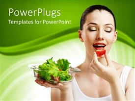 Amazing PPT theme consisting of a beautiful model eating fruit and holding green vegetables in a plate