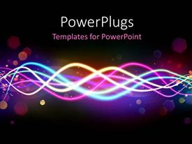 Audience pleasing presentation design featuring beautiful multi color electric waves with bokeh effect