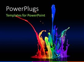 Presentation theme with beautiful multi color paint splash with black color