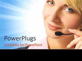 Presentation theme having beautiful phone operator with headphone and microphone on blue surface
