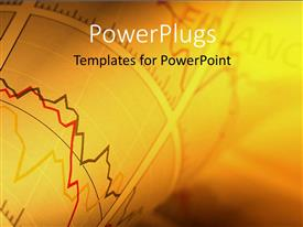PPT theme featuring a beautiful representation of financial chart with golden background