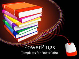 PPT theme having a beautiful representation of a pile of books along with a mouse