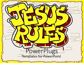 Presentation theme featuring a beautiful representation of the words Jesus rules with white background