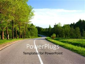 Theme enhanced with a beautiful road in the forest with greenery around