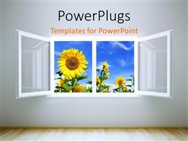 PPT layouts with beautiful room with open window leading to sunflower field and cloudy sky