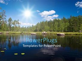 PPT theme consisting of a beautiful scenery with lake, trees and sunshine in the background