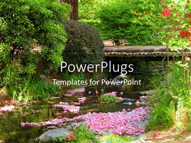 PPT theme enhanced with beautiful scenery of spring with blossoming flowersand leaves on water surface