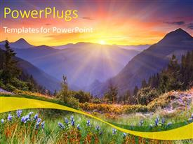PPT theme enhanced with beautiful scenery of sunset over mountains and flower field