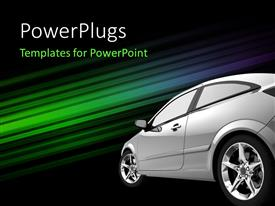 Colorful PPT layouts having beautiful shining car against a colorful shiny stripes background