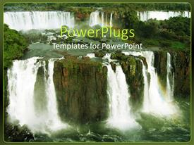 Colorful presentation theme having beautiful shot of Iguacu falls with water falling from rock