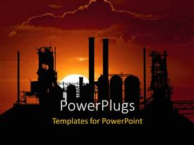 Presentation theme having beautiful sunset on horizon with industrial plant and cloudy sky