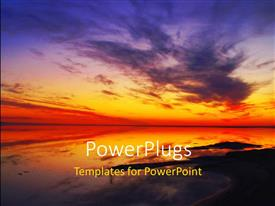 Beautiful PPT theme with a beautiful sunset and an ocean with a lot of clouds