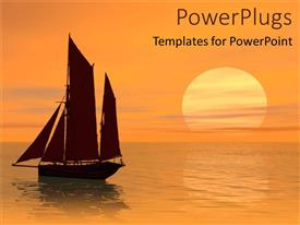 PPT theme featuring beautiful sunset over boat with high sail on sea