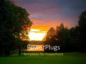 Amazing PPT theme consisting of beautiful sunset over golf course beside lake with trees