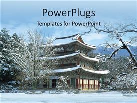 5000 korean powerpoint templates w korean themed backgrounds beautiful theme with beautiful view of chinese house n natural snow fall toneelgroepblik Gallery