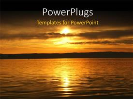 PPT theme with beautiful view of sunset over sea surface in autumn