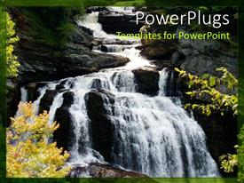 PPT layouts featuring beautiful waterfall with water dropping into a beautiful gorge