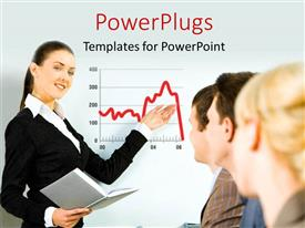 PPT layouts enhanced with beautiful woman making financial presentation to group of people