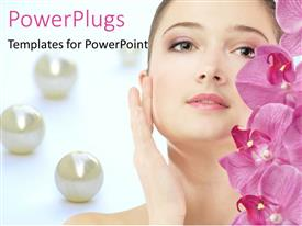 Audience pleasing PPT theme featuring beautiful woman and pink flowers with pearls
