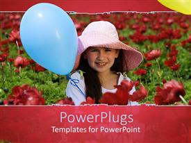 Theme with beautiful young girl in flower field with blue balloon and pink hat