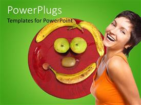 Elegant slide deck enhanced with beautiful young lady smiling with fruits forming smiley face on plate