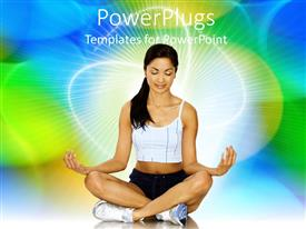 Beautiful theme with beautiful young lady in sport outfit meditating over colorful background