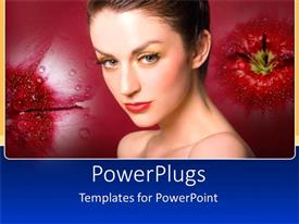 Beautiful slide deck with beauty model woman with make up and red lipstick on flower background