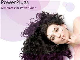 PPT layouts with beauty queen with amazing curly hair on purple background