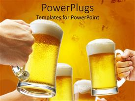 Beautiful presentation theme with beer cheers toast yellow background