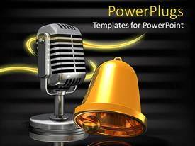 Amazing PPT theme consisting of a bell and a mic with blackish background