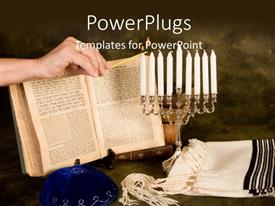 5000 jewish powerpoint templates w jewish themed backgrounds slide deck with a bible with a number of candles toneelgroepblik Images