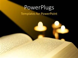 Beautiful PPT theme with the bible with a number of candles