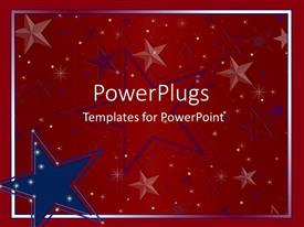 PPT theme enhanced with big blue and red star logos on a red background