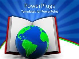 PPT theme featuring big book with a blue and green earth globe